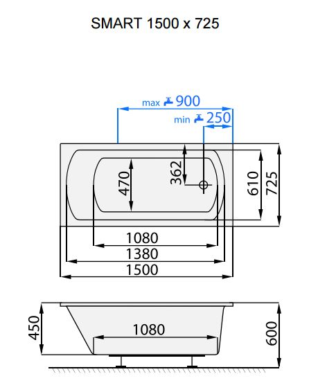 Vana Santech Smart 150 X 72 5 Cm Az Koupelny